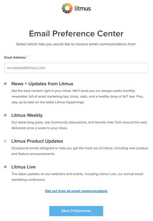 litmus preference center